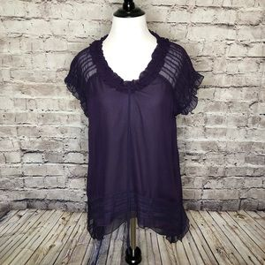 Sundance Chiffon Layer Silk Ruffle Blouse Small